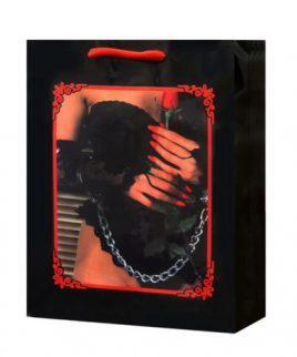 Lady lace lingerie w/rose and handcuffs gift bag