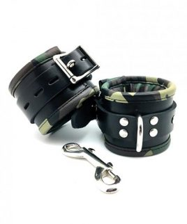 Sensual Sin Leather Padded Wrist Cuffs Camo Piping