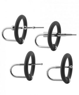 Kink Ring, Plug Set Cock Accessory Silicone & Stainless Black
