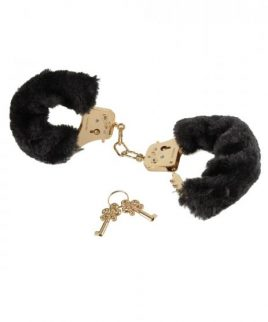 Deluxe Furry Cuffs Black Gold