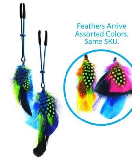 Colored Feather Blue Tweezer End Nipple Clamps