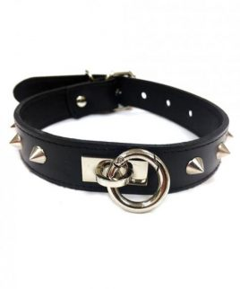 Rouge Leather O-Ring Studded Collar Black