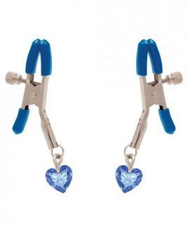 I'll Never Let Go Nipple Clamps Heart Charms Blue