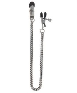 Adjustable Broad Tip Nipple Clamps With Jewel Chain Silver